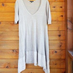 Eileen Fisher linen/silk uneven hemtunic top M.